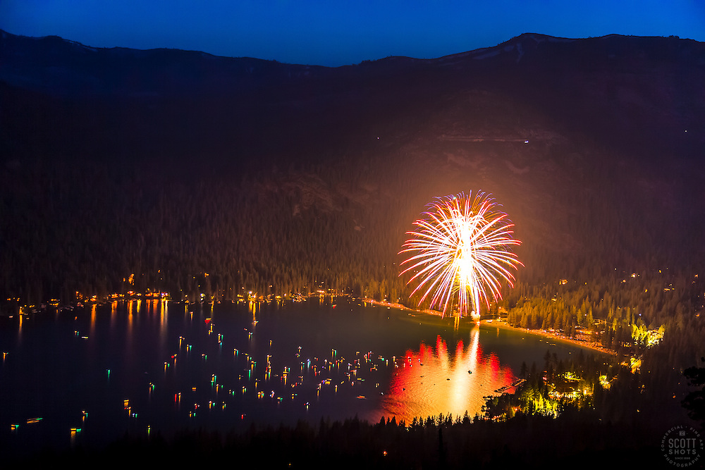 """""""Fireworks at Donner Lake 2"""" - Photograph of the 2016 July 4th fireworks display at Donner Lake in Truckee, California."""