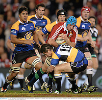 11 June 2013; Justin Tipuric, British & Irish Lions, is tackled by Angus Roberts, Combined Country. British & Irish Lions Tour 2013, Combined Country v British & Irish Lions, Hunter Stadium, Newcastle, NSW, Australia. Picture credit: Stephen McCarthy / SPORTSFILE