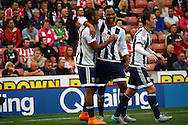 Jose Salomon Rondon (l) of West Bromwich Albion celebrates with his teammates after scoring his teams 1st goal.Barclays Premier League match, Stoke city v West Bromwich Albion at the Britannia stadium in Stoke on Trent, Staffs on Saturday 29th August 2015.<br /> pic by Chris Stading, Andrew Orchard sports photography.
