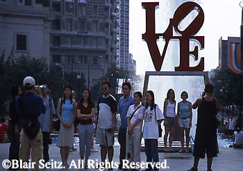"""LOVE"" sculpture, Love Park, Philadelphia, PA, Young Tourists"