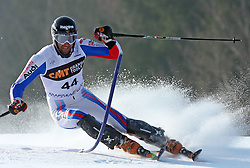 Stephane Tissot at first run of 9th men's slalom race of Audi FIS Ski World Cup, Pokal Vitranc,  in Podkoren, Kranjska Gora, Slovenia, on March 1, 2009. (Photo by Vid Ponikvar / Sportida)