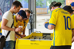 Sweden fans play table football at the Paris Fanzone, while waiting for the next game to start on the big screens. Images from the UEFA EURO 2016, 14 June 2016 in Fan Zone. (c) Paul Roberts   Edinburgh Elite media. All Rights Reserved