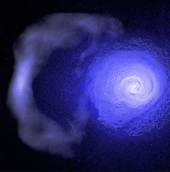 Oct 29, 2018 - Space - A gigantic cold front in the Perseus galaxy cluster has been observed by a trio of X-ray telescopes. The ancient cold front can be seen at the left of the image, drifting away from the inner, younger front closer to the centre. Galactic cold fronts are nothing like the cold fronts we experience on Earth, instead they are caused by galaxy clusters colliding into one another. The gravitational pull of a larger cluster tugs a smaller cluster closer, resulting in gas in the core of the cluster being sloshed around like liquid in a glass. This creates a cold front in a spiral pattern moving outwards from the core and these sloshing cold fronts can provide a probe of the intercluster medium. (Credit Image: © NASA/ESA/ZUMA Wire/ZUMAPRESS.com)