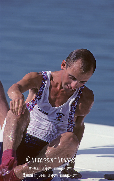 Barcelona, SPAIN. Gold Medalist, GBR M2+, cox, Gary HERBERT.  on the awards dock. 1992 Olympic Rowing Regatta Lake Banyoles, Catalonia [Mandatory Credit Peter Spurrier/ Intersport Images] Last time Men's coxed pair raced at the Olympics