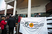 Today is the first day of a two week trial against the 13 Heathrow activists at Willesden Magistrate's Court. The activists were met by cheering supporters before heading in to their first day in court. Amongst the many supporters was Natalie Bennett of the Green Party. A brief statement was read out by Rebecca Holly Sanderson and todays hearing only expected to hear evidence from defendant Ella Gilbert. July 13 2015 13 climate activists staged a peaceful protest at Heathrow airport  against a third runway and any further airport expansions.