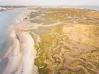 Abstract aerial view of lagoon in the Algarve in Portugal.