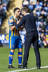March 23, 2019 - Meadow, Shropshire, United Kingdom - Oliver Norburn of Shrewsbury Town takes instructions from Sam Ricketts Manager of Shrewsbury Town during the Sky Bet League 1 match between Shrewsbury Town and Portsmouth at Greenhous Meadow, Shrewsbury on Saturday 23rd March 2019. (Credit Image: © Mi News/NurPhoto via ZUMA Press)