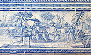 Blue and white azulejo tiles Oriental Far Eastern scene China, University of Evora, Portugal