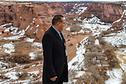 Quincy Natay, Superintendent of Chinle Unified School District stands for a portrait on the edge of Canyon de Chelly National Monument at the Tsei overlook near Chinle Arizona.