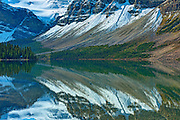 reflection of the Canadian Rocky Mountains in  Bow Lake<br /> Banff National Park<br /> Alberta<br /> Canada
