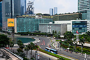 Jakarta, officially the Special Capital Region of Jakarta (Indonesian: Daerah Khusus Ibukota Jakarta), is the capital and largest city of Indonesia<br /> <br /> On the Photo: Selamat Datang Monument and the Kempinski Hotel
