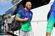 Leeson Ah Mau arrives at Netstrata Jubilee Stadium. St George Dragons v Vodafone Warriors. NRL Rugby League, Netstrata Jubilee Stadium, Sydney, NSW, Australia, Sunday 18th April 2021 Copyright Photo: David Neilson / www.photosport.nz