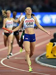 Emily Diamond of Great Britain celebrates her team's silver medal finish - Mandatory byline: Patrick Khachfe/JMP - 07966 386802 - 13/08/2017 - ATHLETICS - London Stadium - London, England - Women's 4x400m Metres Relay Final - IAAF World Championships