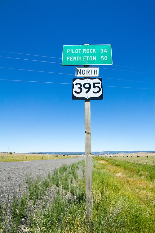 Highway 395 road sign. Eastern Oregon.