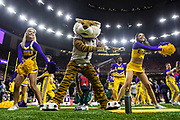 January 13, 2020:  LSU cheerleaders perform during College Football Playoff National Championship game action between the Clemson Tigers and the LSU Tigers at Mercedes-Benz Superdome in New Orleans, Louisiana.  LSU defeated Clemson 42-25.