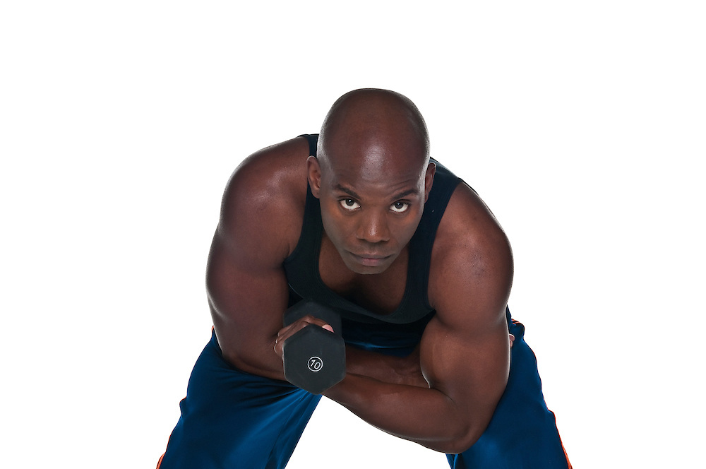 Young Body Builder African American doing excersice...