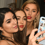 Claudia Sowaha, Chloe Adlerstein and Lilly Douse Bachelor girls contestant attend The Bachelor UK 2019 launch night - The girls private screening on Channel 5 at Beach Blanket Babylon on 4 March 2019, London, UK