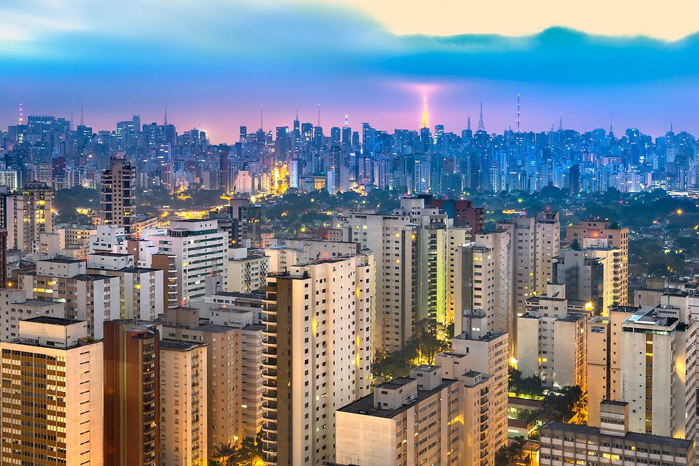 Skyline of Sao Paulo at dusk, Brazil, South America