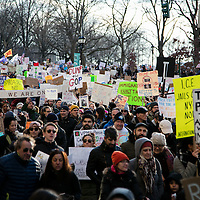 People march against Trump's executive order banning citizens of 7 Muslim majority nations and refugees from entering the United States leaving Battery Park, New York City, NY on Sunday January 29, 2017.