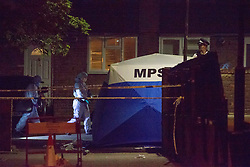 ©️ Licensed to London News Pictures. 14/09/2020. London, UK. Police are investigating following a fatal stabbing in Islington, north London. Officers were called at 20:00hrs to North Road, after a male – at this stage believed to be a teenager - was found suffering from stab injuries.He was treated by paramedics at the scene but despite their best efforts, he was pronounced dead.Officers are working to establish the male's identity and inform his next of kin.At this very early stage there have been no arrests.A crime scene is in place and an investigation is in progress.Enquiries into the circumstances continue. Photo credit: Marcin Nowak/LNP