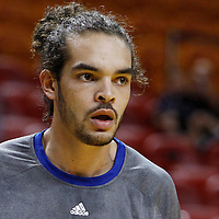 29 January 2012: Chicago Bulls Joakim Noah warms up prior to the Miami Heat game against the Chicago Bulls at the AmericanAirlines Arena, Miami, Florida, USA.