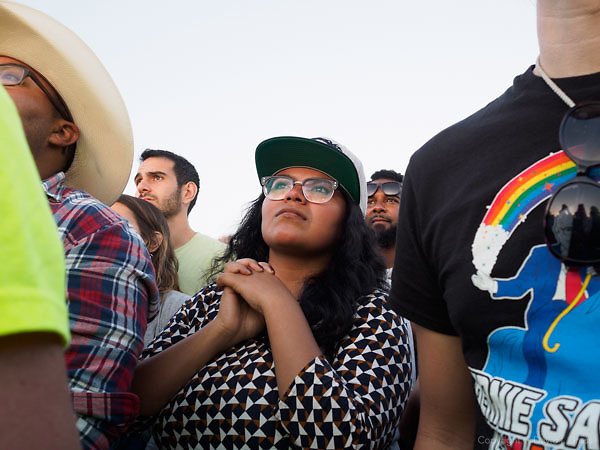 """People react to Bernie Sanders at the """"A Future to Believe In"""" rally in Vallejo, California. Bernie Sanders is a candidate for the Democratic nomination for president."""