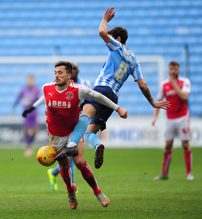 Fleetwood Town's Antoni Sarcevic vies for possession with Coventry City's Ruben Lameiras<br /> <br /> Photographer Chris Vaughan/CameraSport<br /> <br /> Football - The Football League Sky Bet League One - Coventry City v Fleetwood Town - Saturday 27th February 2016 - Ricoh Stadium - Coventry   <br /> <br /> © CameraSport - 43 Linden Ave. Countesthorpe. Leicester. England. LE8 5PG - Tel: +44 (0) 116 277 4147 - admin@camerasport.com - www.camerasport.com