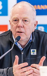 12.02.2020, Suedtirol Arena, Antholz, ITA, IBU Weltmeisterschaften Biathlon, Pressekonferenz, im Bild Olle Dahlin (IBU Präsident) // Olle Dahlin President of the International Biathlon Union during a press conference before the IBU Biathlon World Championships 2020. Suedtirol Arena in Antholz, Italy on 2020/02/12. EXPA Pictures © 2020, PhotoCredit: EXPA/ Stefan Adelsberger