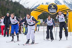 22.03.2014, Gschwandtkopf, Seefeld, AUT, 8. World Star Ski Event, Star Team for Children, Biathlon, im Bild v.l. Jure Kosir (Olympiasieger Ski Alpin), Peter Fill (Vize Weltmeister Super-G), Emanuele Pirro (Le Mans Sieger), Claudio Chiappuci (Straßen Rad Legende) // during the Biathlon of Star Team for Children of 8th World Star Ski Event at the Gschwandtkopf course in Seefeld, Austria on 2014/03/22. EXPA Pictures © 2014, PhotoCredit: EXPA/ Johann Groder