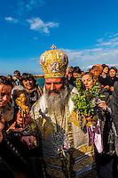 An Orthodox Christian procession at the port, Jaffa (Tel Aviv), Israel.