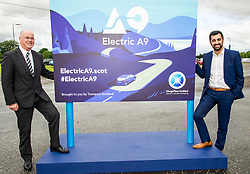 Pictured: Humza Yousaf linked up with Transport Scotland CEO Roy Brannen for the unveiling<br /> <br /> Transport Minister Humza Yousaf spoke to stakeholders today at Falkirk Stadium as he outlined the Electric A9 vision with further support announced. <br /> <br /> <br /> Ger Harley | EEm 20 June 2018