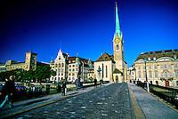 Munsterbrucke (bridge) with the Fraumunster cathedral in back, Zurich, Switzerland