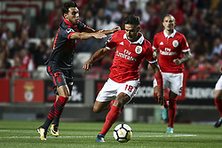 August 9, 2017 - Lisbon, Portugal - Benfica's forward Eduardo Salvio  (R) vies with Braga's midfielder Ricardo Horta during the Portuguese League  football match between SL Benfica and SC Braga at Luz  Stadium in Lisbon on August 9, 2017. (Credit Image: © Carlos Costa/NurPhoto via ZUMA Press)