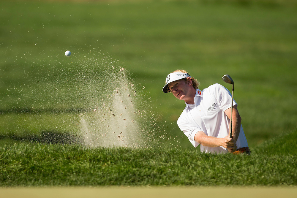 FARMINGDALE, NY - AUGUST 26:  Brandt Snedeker plays a bunker shot during the final round of the 2012 Barclays at the Black Course at Bethpage State Park in Farmingale, New York on August 26, 2012. (Photograph ©2012 Darren Carroll) *** Local Caption *** Brandt Snedeker