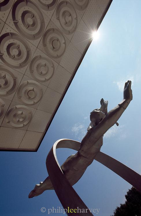 Statue of cosmonaut Alexey Leonov. Star City, Moscow, Russia