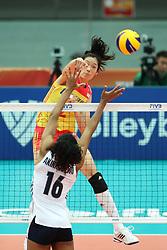 OSAKA, Oct. 10, 2018  Zhu Ting (top) of China spikes during the Pool F match against the United States at the 2018 Volleyball Women's World Championship in Osaka, Japan, Oct. 10, 2018. China won 3-0. (Credit Image: © Du Xiaoyi/Xinhua via ZUMA Wire)