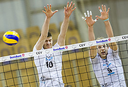 Boris Brus of Calcit and Andrej Stembergar of Calcit during volleyball match between ACH Volley and OK Calcit Volleyball in 10th Round of Slovenian National Championship 2014/15, on March 11, 2015 in Arena Tivoli, Ljubljana, Slovenia. Photo by Vid Ponikvar / Sportida