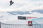 GB Park & Pipe freestyle snowboarder, Matt McCormick wins the mens snowboard slopestyle competition at The British Snowboard Championships on the 5th April 2019 in Laax ski resort in Switzerland.