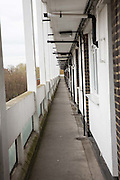 A pedestrian walkway inside Elmore House on  the Loughborough estate in Brixton. United Kingdom.  (photo by Andrew Aitchison / In pictures via Getty Images)