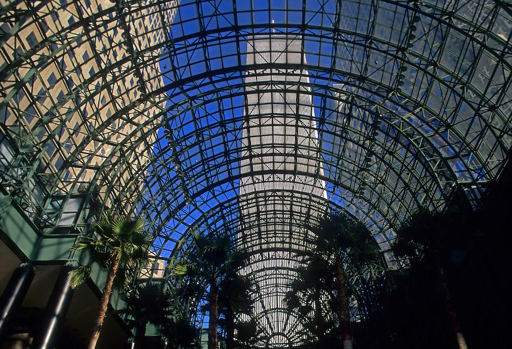 Looking up through Glass, Sky roof View, Manhattan, New York City, New York, USA, NY World Financial Center, Winter Garden, New York City, New York, glass atrium, Twin Towers, Twin Towers, World Trade Center, designed by Minoru Yamasaki, International Style II