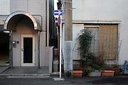residential apartment buildings seen from the street in Japan Yokosuka