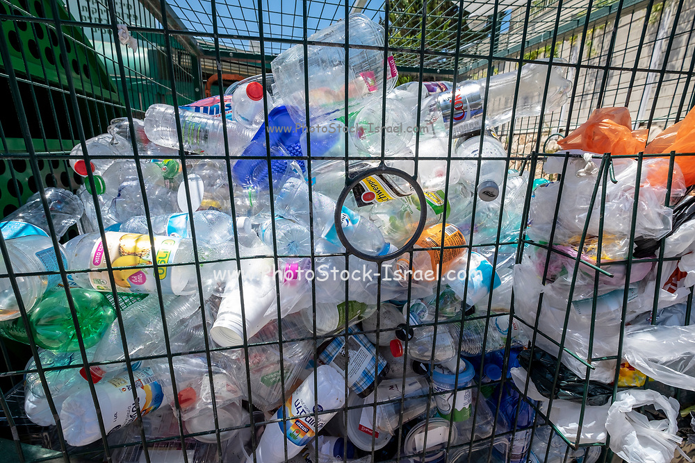 Plastic bottle recycling bin photographed in Israel