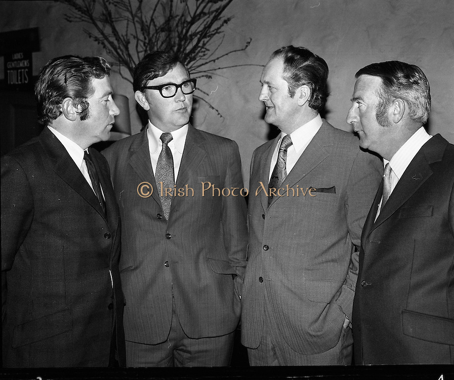 Ballybunion Festival. (F11).1973..24.05.1973..05.24.1973..24th May 1973..A press reception was held last night in the Old Shieling Hotel,Raheny,Dublin to announce the forthcoming Ballybunion Festival..Photographed at the press reception to announce the Ballybunion Festival were John Browne,Chairman, T J O'Sullivan,Kerry Area Manager,Guinness Group Sales,Paddy Kennedy,Kerry Footballer representing Bill Fuller,hotels Proprietor and Sean Walshe,Vice Chairman.