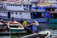 Indonesia, Sulawesi, Manado. Boats in Manado harbour.