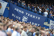 a John Terry Banner hangs at Stamford Bridge. Premier league match, Chelsea v Sunderland at Stamford Bridge in London on Sunday 21st May 2017.<br /> pic by Steffan Bowen,  Andrew Orchard sports photography.