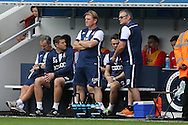 Stuart McCall, the Bradford City manager (c) looks on from the dugout.EFL Skybet football league one match, Millwall v Bradford city at The Den in London on Saturday 3rd September 2016.<br /> pic by John Patrick Fletcher, Andrew Orchard sports photography.