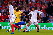 England Crystal Palace on loan from Chelsea Ruben Loftus-Cheek (10) in a challenge in the middle of the park  during the International Friendly match between England and Brazil at Wembley Stadium, London, England on 14 November 2017. Photo by Simon Davies.