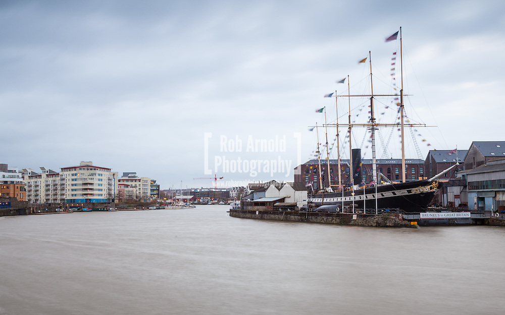 A blustery, cloudy dawn over Brunel's SS Great Britain on 22nd December 2014, the day at which the days start to become longer
