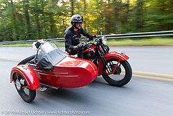 Jon Dobbs and Jaci Pruitt ride their 1939 Harley-Davidson EL Knucklehead (with sidecar) during the Cross Country Chase motorcycle endurance run from Sault Sainte Marie, MI to Key West, FL. (for vintage bikes from 1930-1948). Stage-6 from Chattanooga, TN to Macon, GA USA covered 258 miles. Wednesday, September 11, 2019. Photography ©2019 Michael Lichter.