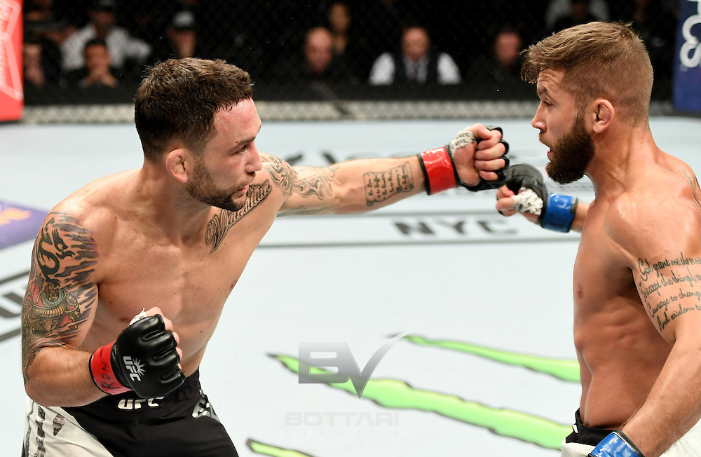 NEW YORK, NY - NOVEMBER 12:  Frankie Edgar of the United States (left) fights against Jeremy Stephens of the United States in their featherweight bout during the UFC 205 event at Madison Square Garden on November 12, 2016 in New York City.  (Photo by Jeff Bottari/Zuffa LLC/Zuffa LLC via Getty Images)